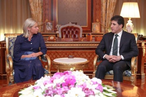 رئيس إقليم كوردستان يجتمع مع الممثلة الخاصة للأمين العام للأمم المتحدة