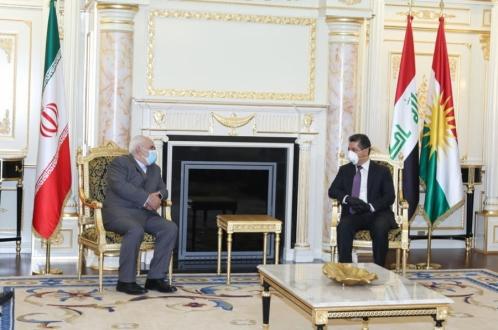 رئيس حكومة إقليم كوردستان يستقبل وزير الخارجية الإيراني