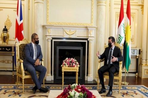 رئيس حكومة إقليم كوردستان يستقبل وفداً بريطانياً رفيع المستوى
