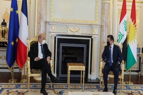 رئيس حكومة إقليم كوردستان يستقبل وزير الخارجية الفرنسي