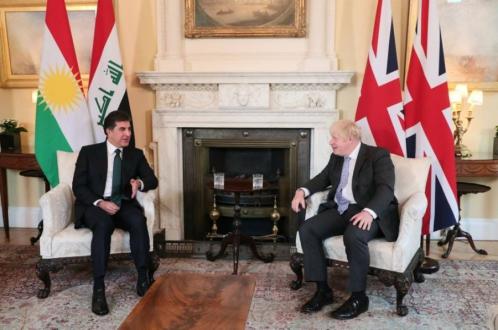 الرئيس نيجيرفان بارزاني يجتمع مع رئيس الوزراء البريطاني بوريس جونسن
