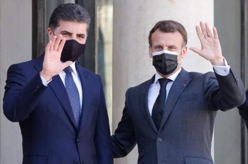 نيجيرفان بارزاني وإيمانوئيل ماكرون يبحثان أوضاع العراق والمنطقة