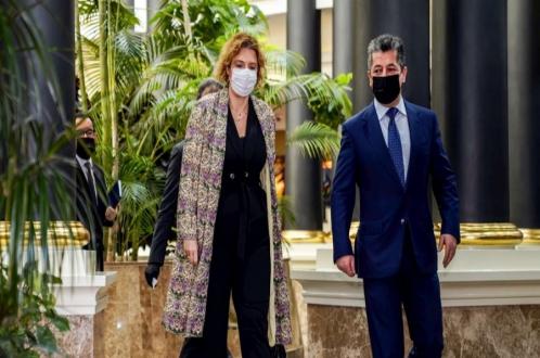 رئيس حكومة إقليم كوردستان يستقبل مسؤولة مكتب الاتحاد الأوروبي