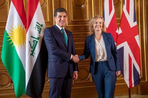 رئيس إقليم كوردستان يجتمع مع وزيرة الخارجية البريطانية