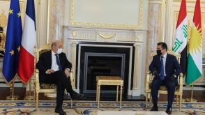 Prime Minister Masrour Barzani receives French Foreign Minister Jean-Yves Le Drian