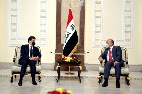 President Nechirvan Barzani meets with Iraq's President Barham Salih