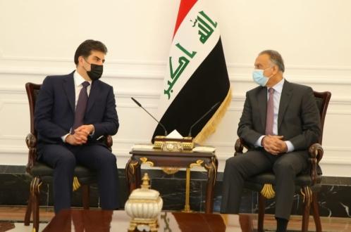 President Nechirvan Barzani meets with Iraq's Prime Minister Mustafa Al-Kadhimi