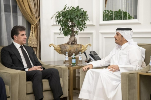 President Nechirvan Barzani meets with Foreign Minister of Qatar