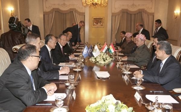 President Barzani Meets with U.N. Chief Ban Ki-moon in Erbil‏